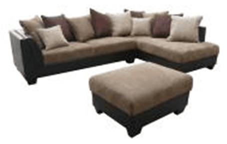 Micro Suede Bonded Leather Sofa Set